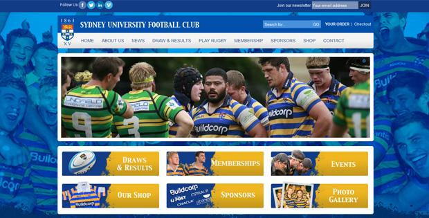 Sydney Uni Rugby - Website Design by SiteSuite
