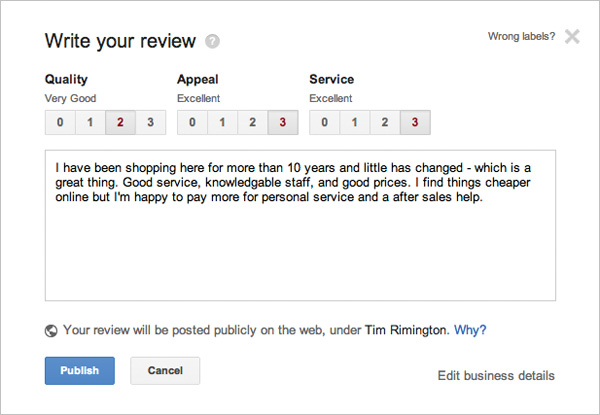 Google+ reviews are excellent forms of content generation and therefore great for page SEO.