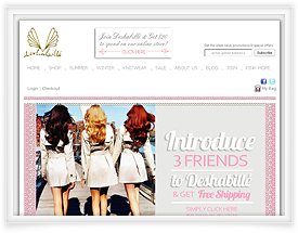 Deshabille website design and shopping cart software by SiteSuite