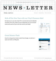 Email Newsletter Templates supplied as standard