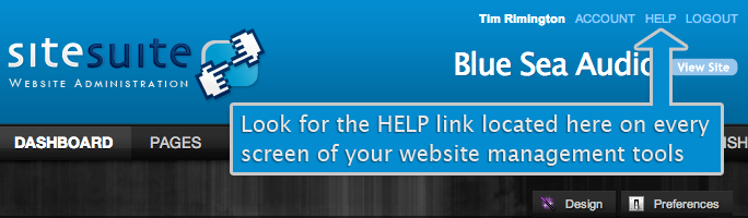 Click on the help link within SiteSuite CMS to access detailed online help documents