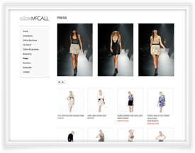 Alice McCall website design and shopping cart software by SiteSuite