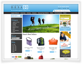 Ecommerce website for DESA Handbags and Luggage
