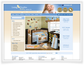 Living Textiles website design and shopping cart software by SiteSuite
