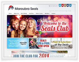Maroubra Seals Club's website design by SiteSuite