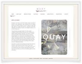 Quay Restaurant and Bar website design by SiteSuite