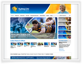 Sydney Uni Sport and Fitness website design by SiteSuite