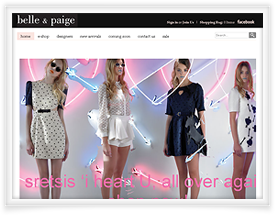 Belle and Paige website design and shopping cart software by SiteSuite