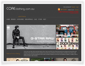 Core Clothing website design and shopping cart software by SiteSuite