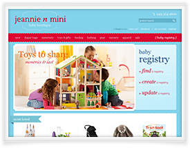 Jeannie n Mini website design and shopping cart software by SiteSuite