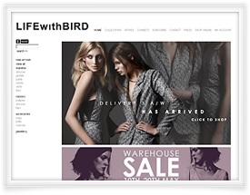 LIFEwithBIRD website design and shopping cart software by SiteSuite