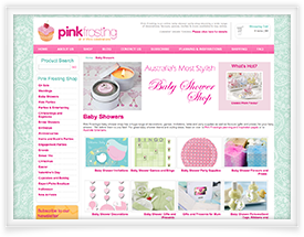 Ecommerce website for Pink Frosting Wedding Shop