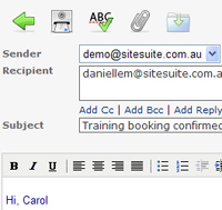 Composing a message in the new webmail program